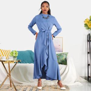 It Girl Ruffle Wrap Dress Blue 4