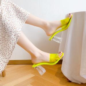 Neon Gel Chunky Heel Slip On Main Sandals 4