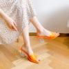 Neon Gel Chunky Heel Slip On Sandals