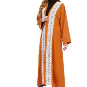 Orange Gold Open Front Abaya Dress 1