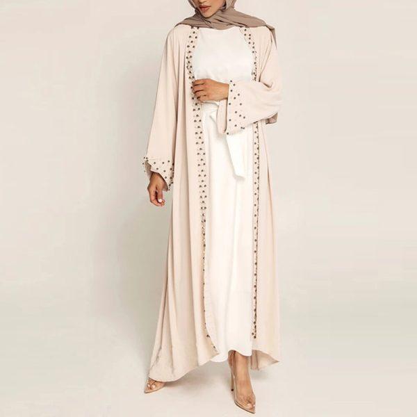 Pearl Rim Open Front Abaya
