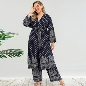 Plus Size Pant Robe Set 2