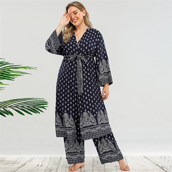 Plus Size Robe and Pants Set