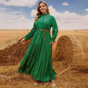 Plus Size Solid Green Layered Maxi Dress 3 Main