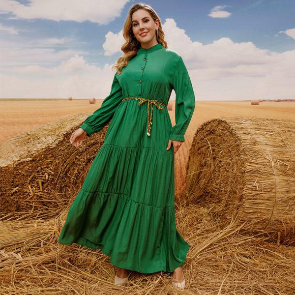 Plus Size Emerald Tiered Maxi Dress