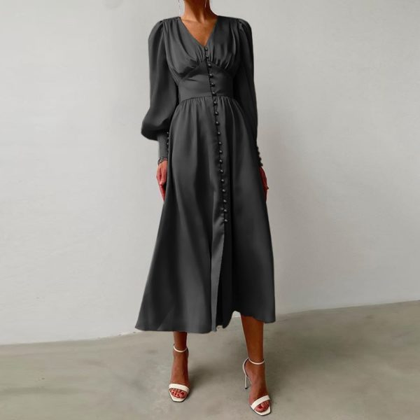 Silky Button Front Vintage Dress