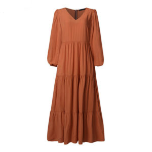 V Neck Solid Tiered Maxi Dress 1 Brown