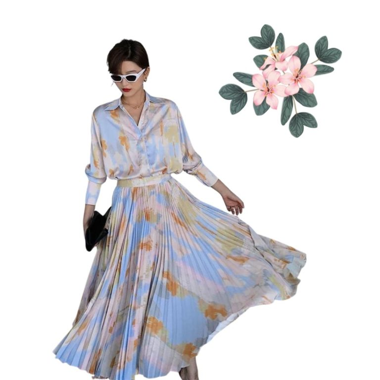 Blossom Silky Blouse And Pleated Skirt Set 1 1