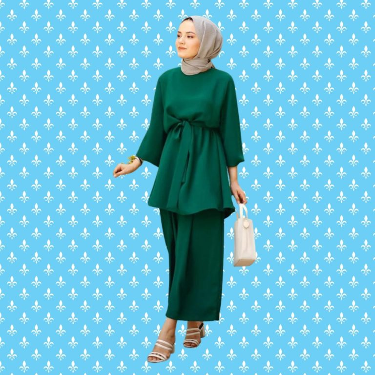 Elegant Modest Two Piece Top And Pants Set