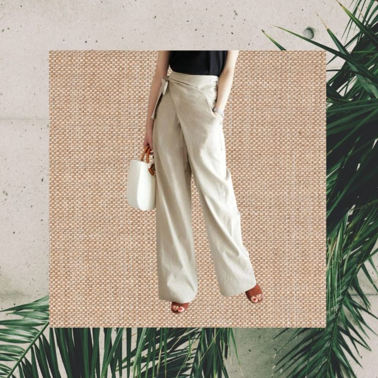 Linen Wide Leg Wrap Tie Palazzo Pants