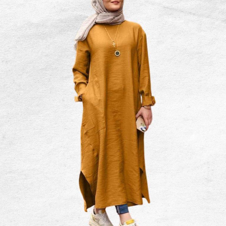 Modest Turkish Style Long Tunic Top