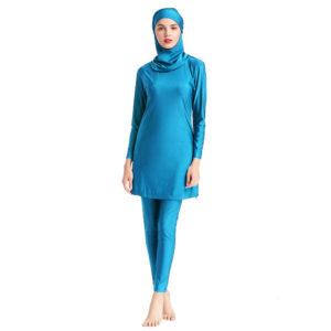 Solid Burkini Swimsuit 05 Sky Blue