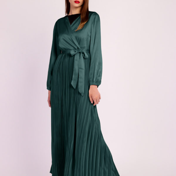 Long Sleeve Pleated Satin Maxi Dress Dark Green