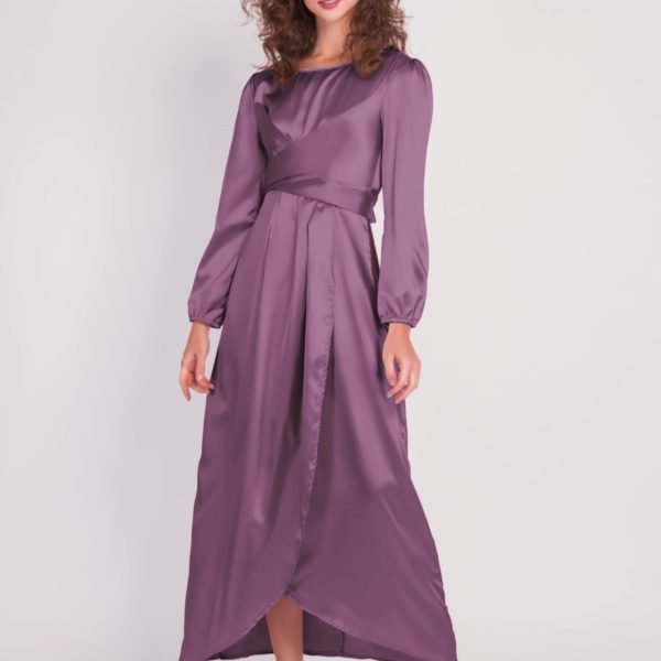 Satin Wrap Maxi Dress With Puff Sleeves purple scaled