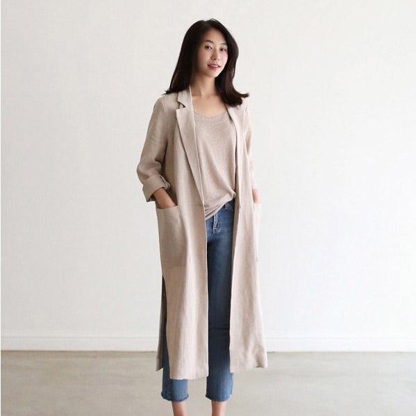 Womens Lapel Neck Long Sleeve Linen Jacket Featured image