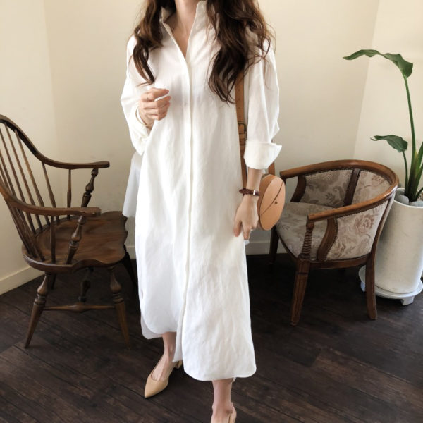 Casual Button Front Shirt Dress White