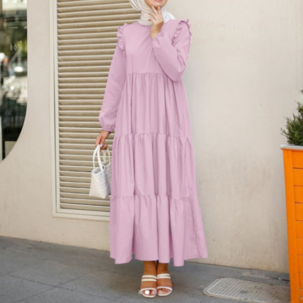 Casual Smock Tiered Maxi Dress Pink