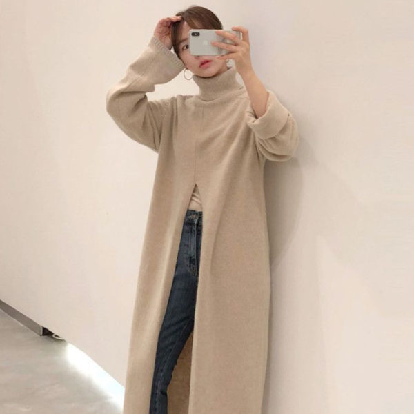 Knitted High Neck Maxi Sweater with Slit Khaki
