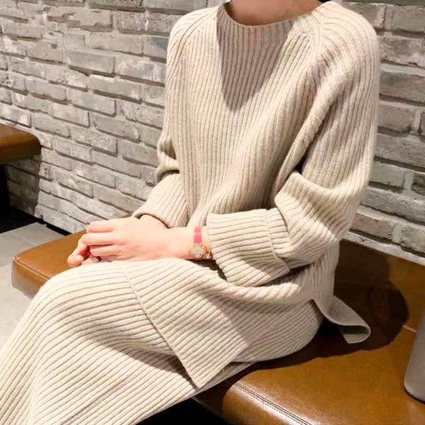 Knitted Two Piece Sweater Set 1 Beige