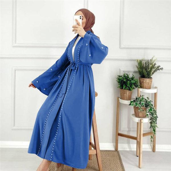 Pearl Wrap Tie Abaya Blue