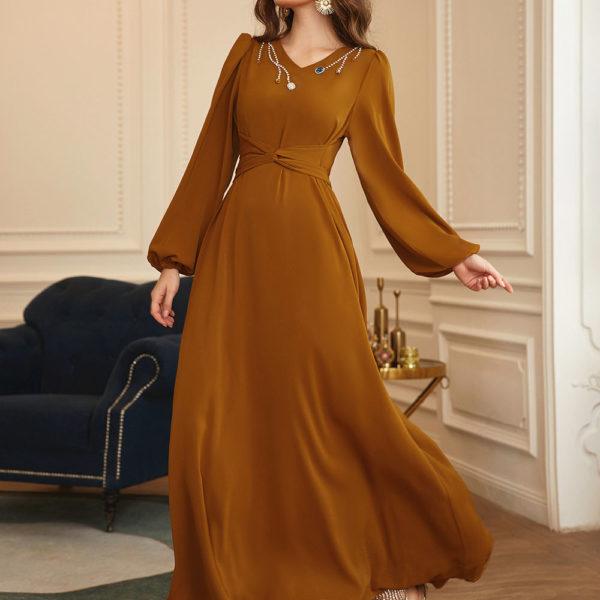 Puff Sleeve Twist Front Maxi Dress 1