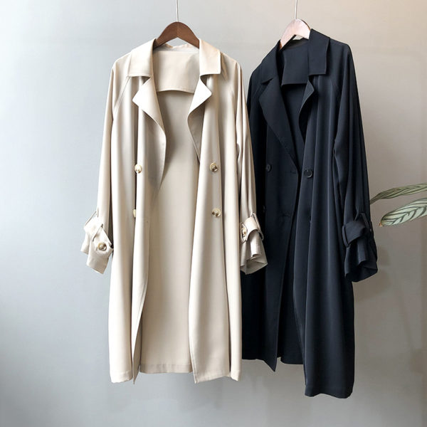 Relaxed Double Breasted Midi Trench