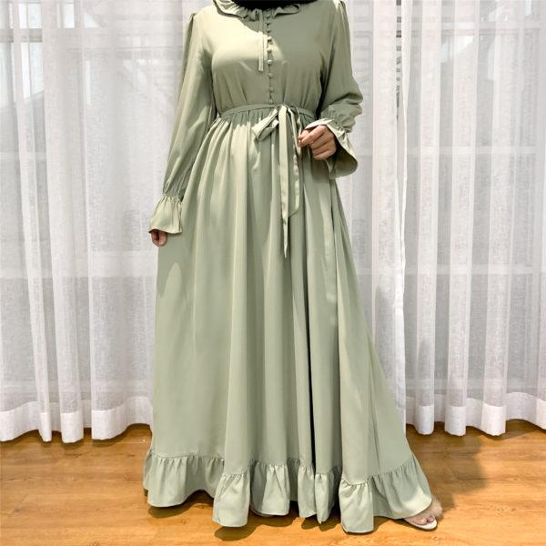 Ruffle Slip on Abaya Dress 5 Beige Green