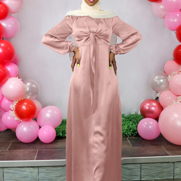 Satin Tie Front Maxi Dress Pink
