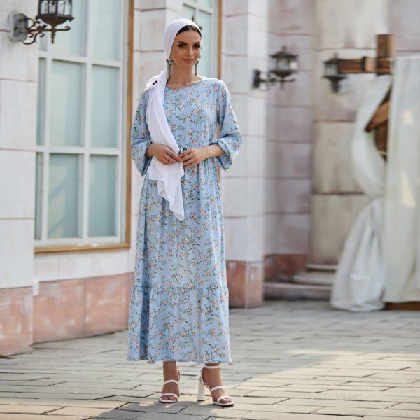 Sky Blue Floral Maxi Dress 1