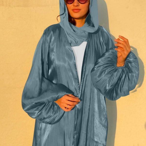 Sleek Blouson Sleeve Abaya Gray Blue