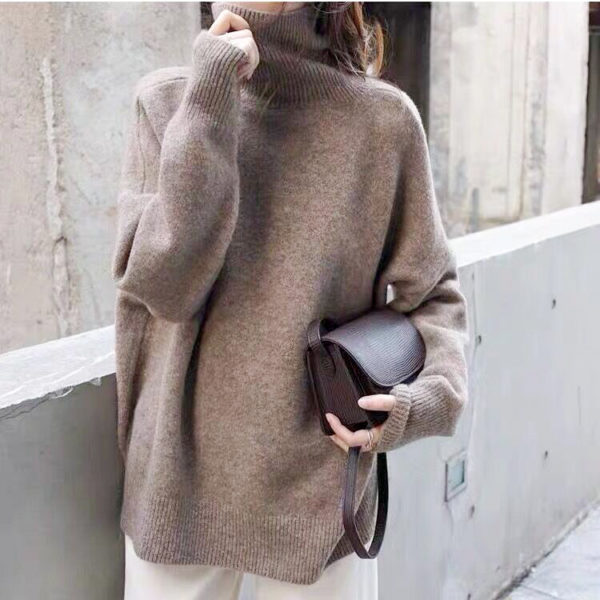 Solid High Neck Sweater Khaki