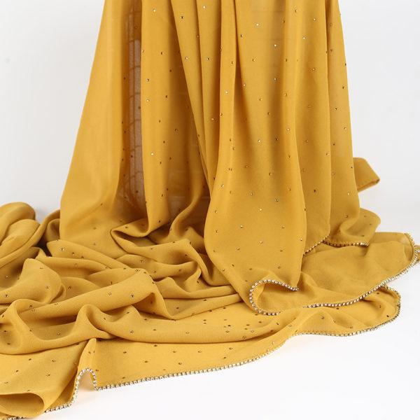 Subtle Glam Glitter Chiffon Hijab 10 Mustard Yellow