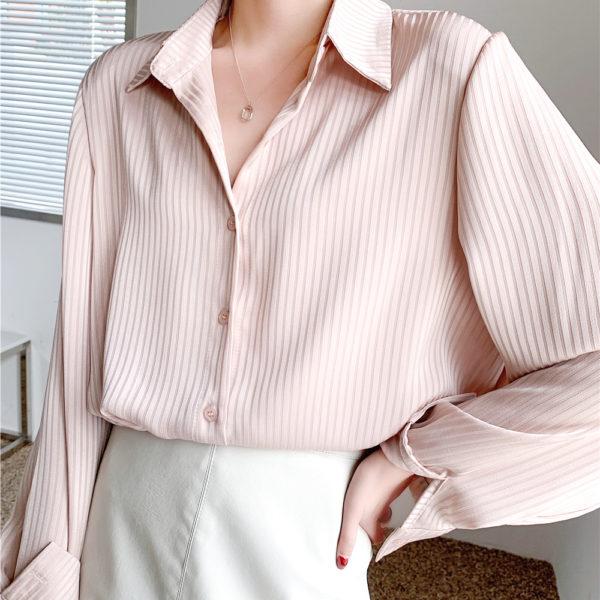 Vertical Striped Oversized Blouse 1 Light Pink